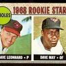 BALTIMORE ORIOLES ROOKIE STARS DAVE LEONARD DAVE MAY 1968 TOPPS # 56 VG