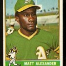 OAKLAND ATHLETICS MATT ALEXANDER 1976 TOPPS # 382 EX