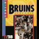 1991 BOSTON BRUINS POCKET SCHEDULE ANDY MOOG