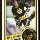 BOSTON BRUINS KEITH CROWDER 1984 TOPPS # 2 NR MT SHORT PRINT