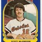 1981 FLEER STAR STICKER CARD # 10 BALTIMORE ORIOLES SCOTT McGREGOR