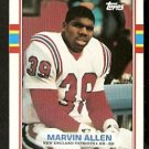 NEW ENGLAND PATRIOTS MARVIN ALLEN ROOKIE CARD RC 1989 TOPPS # 202