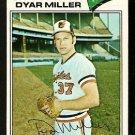 Baltimore Orioles Dyar Miller 1977 Topps Baseball Card 77 vg