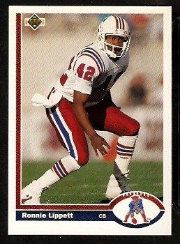 New England Patriots Ronnie Lippett 1991 Upper Deck Football Card 410