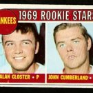 NEW YORK YANKEES ROOKIE STARS ALAN CLOSTER JOHN CUMBERLAND 1969 TOPPS # 114 EX+