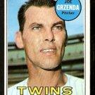MINNESOTA TWINS JOE GRZENDA 1969 TOPPS # 121 VG