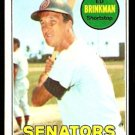 WASHINGTON SENATORS ED BRINKMAN 1969 TOPPS # 153 VG