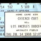 1988 TICKET STUB LOS ANGELES DODGERS @ CHICAGO CUBS WRIGLEY FIELD DOUBLEHEADER