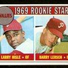 PHILADELPHIA PHILLIES ROOKIE STARS LARRY HISLE BARRY LERSCH 1969 TOPPS # 206 EM