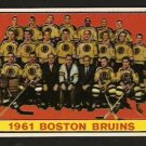 BOSTON BRUINS TEAM CARD 1961 TOPPS # 20 EM/NM