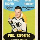 BOSTON BRUINS PHIL ESPOSITO ART ROSS HART 1969 OPC # 205 ERROR NM