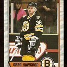 BOSTON BRUINS GREG HAWGOOD ROOKIE CARD RC 1989 OPC O PEE CHEE # 81