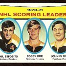 SCORING LEADERS BOSTON BRUINS BOBBY ORR PHIL ESPOSITO JOHNNY BUCYK 1971 TOPPS # 3