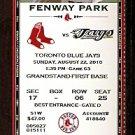 TORONTO BLUE JAYS @ BOSTON RED SOX 2010 TICKET JOSH BECKETT