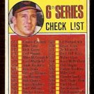 1969 TOPPS  # 504 6TH SERIES CHECK LIST BALTIMORE ORIOLES BROOKS ROBINSON good marked