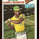 OAKLAND ATHLETICS CLAUDELL WASHINGTON 1977 TOPPS # 405 VG/EX