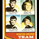BOSTON BRUINS TEAM LEADERS BOBBY ORR PHIL ESPOSITO JOHNNY BUCYK 1974 TOPPS # 28  nr mt