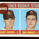 SAN DIEGO PADRES ROOKIE STARS DANNY BREEDEN DAVE ROBERTS 1969 TOPPS # 536 VG/EX