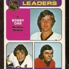 SCORING LEADERS BOSTON BRUINS BOBBY ORR PHIL ESPOSITO DETROIT RED WINGS MARCEL DIONNE 1975 OPC # 210