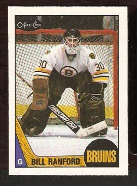 BOSTON BRUINS BILL RANFORD ROOKIE CARD RC 1987 OPC # 13 NR MT O PEE CHEE