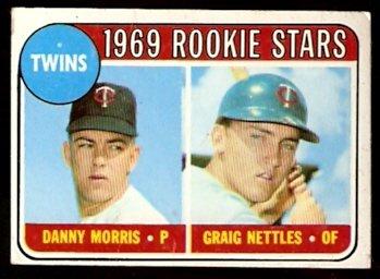 MINNESOTA TWINS ROOKIE STARS GRAIG NETTLES DANNY MORRIS 1969 TOPPS # 99 VG
