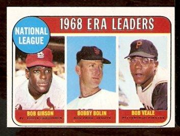 N.L. ERA LDRS CARDINALS BOB GIBSON GIANTS BOBBY BOLIN PIRATES BOB VEALE 1969 TOPPS # 8 NR MT
