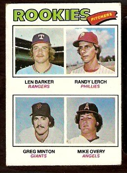 ROOKIE PITCHERS RANGERS PHILLIES GIANTS ANGELS 1977 TOPPS # 489 VG