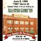 ATLANTA BRAVES @ BOSTON RED SOX 1999 TICKET STUB GREG MADDUX BRIAN JORDAN HR