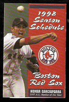 BOSTON RED SOX 1998 POCKET SCHEDULE NOMAR GARCIAPARRA