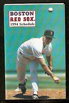 BOSTON RED SOX 1994 POCKET SCHEDULE ROGER CLEMENS
