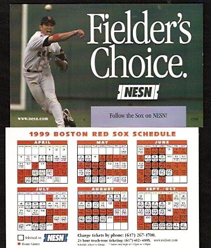 BOSTON RED SOX 1999 SCHEDULE FLYER NOMAR GARCIAPARRA