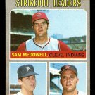 AMERICAN LEAGUE STRIKEOUT LEADERS INDIANS SAM McDOWELL TIGERS LOLICH ANGELS 1970 TOPPS # 72 VG/EX
