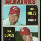WASHINGTON SENATORS ROOKIE STARS JIM MILES JAN DUKES 1970 TOPPS # 154 VG