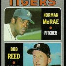 DETROIT TIGERS ROOKIE STARS NORMAN McRAE BOB REED 1970 TOPPS # 207 VG