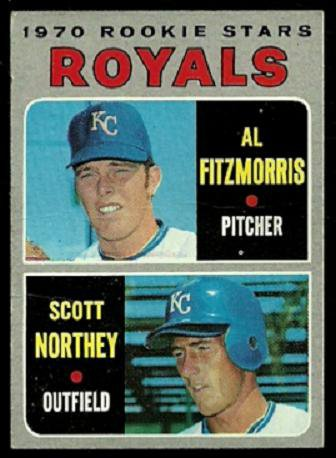 KANSAS CITY ROYALS ROOKIE STARS AL FITZMORRIS SCOTT NORTHEY 1970 TOPPS # 241 good