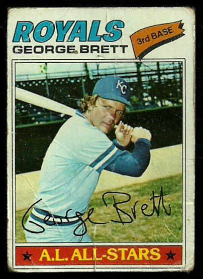 KANSAS CITY ROYALS GEORGE BRETT 1977 TOPPS # 580 fair