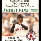 TEXAS RANGERS BOSTON RED SOX 2000 FENWAY PARK TICKET STUB PEDRO MARTINEZ 10 K's