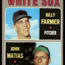 CHICAGO WHITE SOX ROOKIE STARS BILLY FARMER JOHN MATIAS 1970 TOPPS # 444 EX