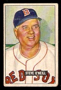 BOSTON RED SOX STEVE O'NEILL 1951 BOWMAN # 201 VG