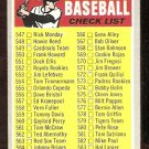 6th SERIES CHECKLIST 1970 TOPPS # 542 VG UNMARKED