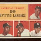 BATTING LEADER RED SOX RUNNELS NEW YORK YANKEES SKOWRON WHITE SOX MINOSO AL SMITH 1961 TOPPS # 42 NM