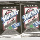 2 UNOPENED PACKS 1990-91 UPPER DECK HOCKEY MODANO JAGR BELFOUR ROOKIES +