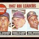 RBI LEADERS RED SOX YASTRZEMSKI YAZ TWINS KILLEBREW ORIOLES FRANK ROBINSON 1968 TOPPS # 4 VG+/EX