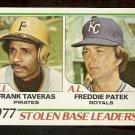 STOLEN BASE LEADERS PITTSBURGH PIRATES FRANK TAVERAS KANSAS CITY ROYALS FREDDIE PATEK 1978 TOPPS 204