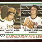 ERA LEADERS CALIFORNIA ANGELS FRANK TANANA PITTSBURGH PIRATES JOHN CANDELARIA 1978 TOPPS # 207 EX+