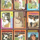 LOS ANGELES DODGERS 11 DIFF 1975 TOPPS BILL BUCKNER  BILL RUSSELL WORLD SERIES STEVE GARVEY NLCS ++