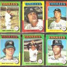 NEW YORK YANKEES 6 DIFF 1975 TOPPS CHRIS CHAMBLISS LOU PINIELLA FRED STANLEY RUDY MAY CECIL UPSHAW