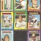 SAN DIEGO PADRES 8 DIFF 1975 TOPPS GENE LOCKLEAR RC TEAM CARD DAVE HILTON BILL GREIF FRED KENDALL ++