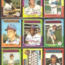 TEXAS RANGERS 11 DIFF 1975 TOPPS HARRAH GRIEVE TEAM CARD CLYDE RANDLE +
