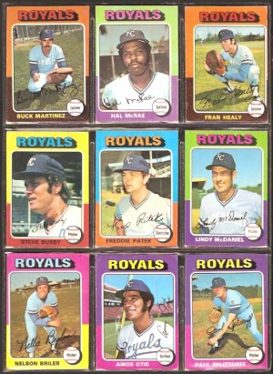 KANSAS CITY ROYALS 11 DIFF 1975 TOPPS SPLITTORFF PATEK OTIS McRAE BUSBY +